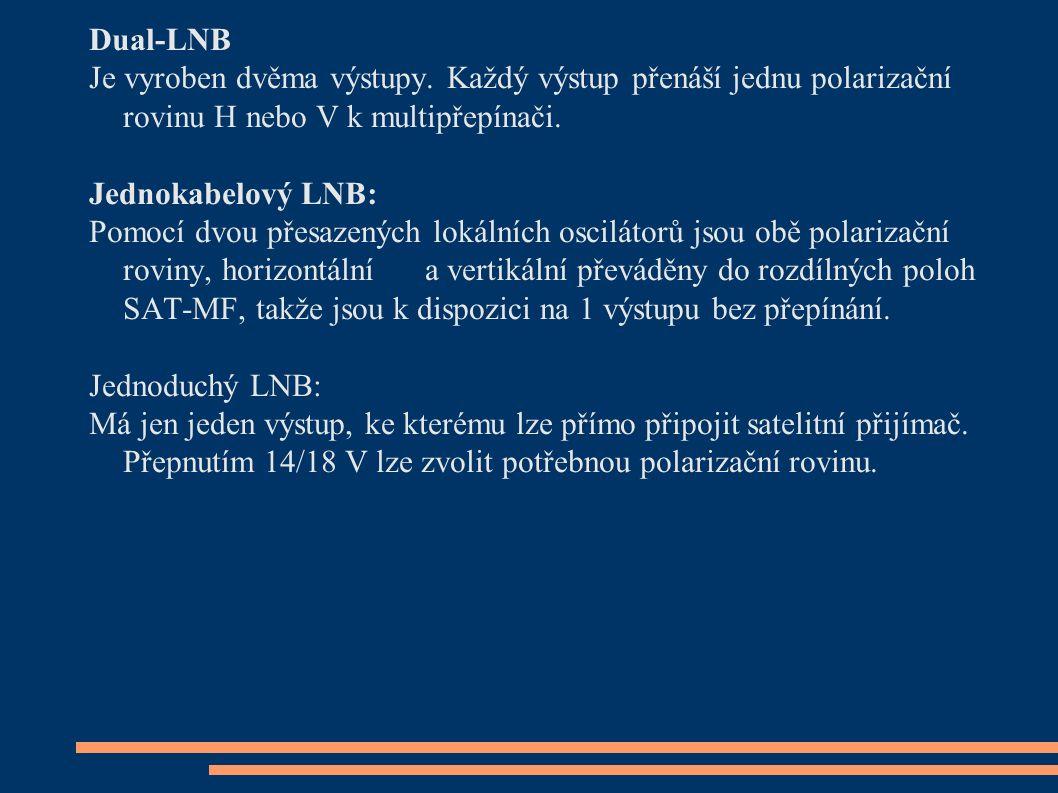 Dual-LNB Je vyroben dvěma výstupy. Každý výstup přenáší jednu polarizační rovinu H nebo V k multipřepínači. Jednokabelový LNB: Pomocí dvou přesazených