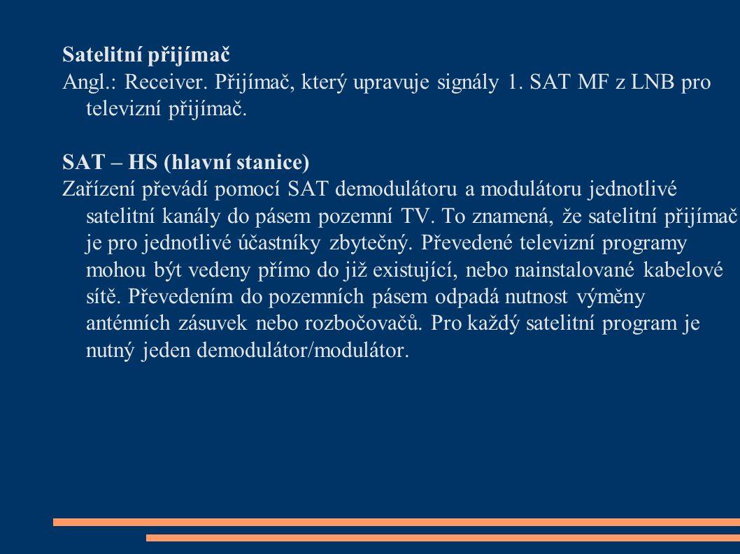 Satelitní přijímač Angl.: Receiver. Přijímač, který upravuje signály 1. SAT MF z LNB pro televizní přijímač. SAT – HS (hlavní stanice) Zařízení převád