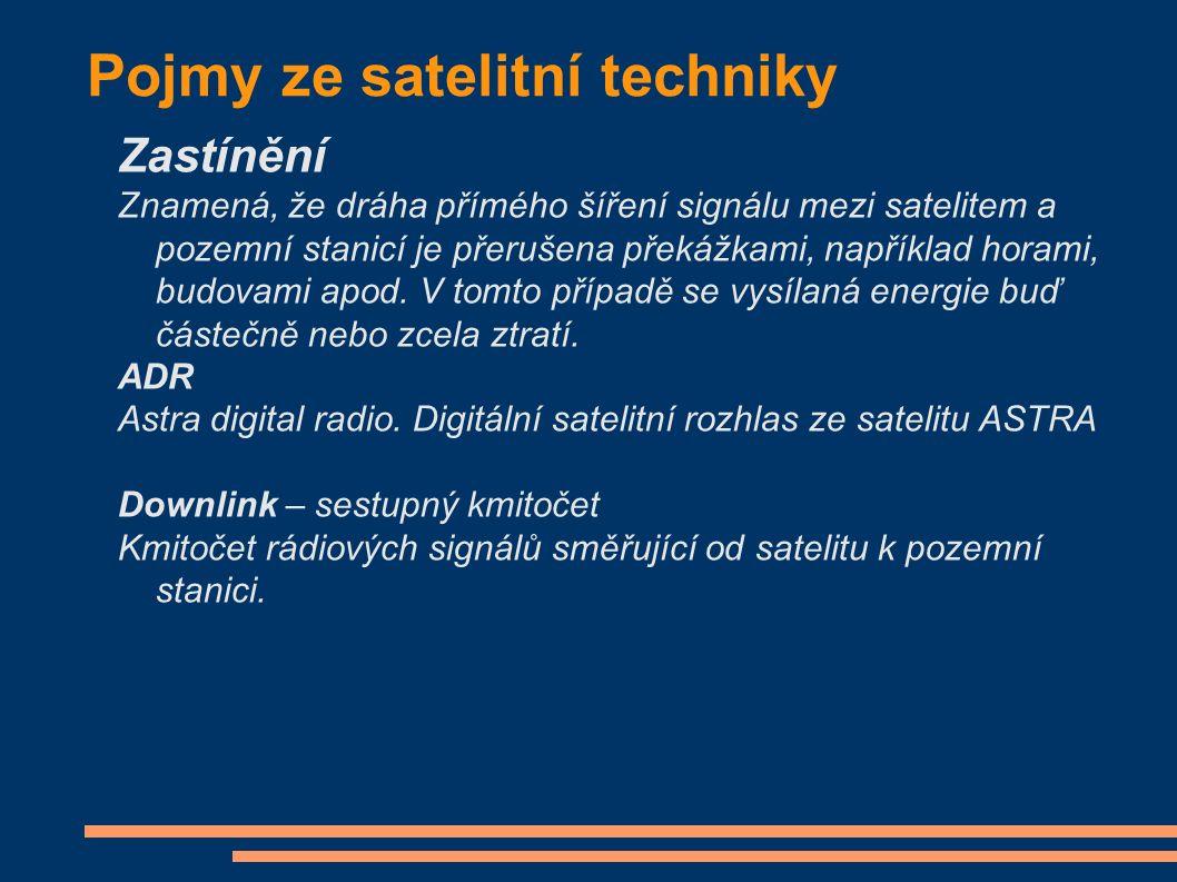 Pojmy ze satelitní techniky Zastínění Znamená, že dráha přímého šíření signálu mezi satelitem a pozemní stanicí je přerušena překážkami, například horami, budovami apod.