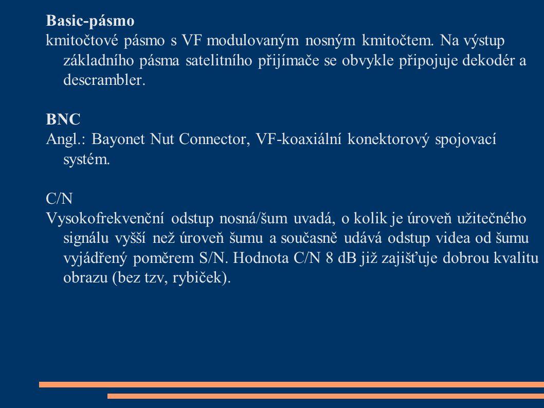 Basic-pásmo kmitočtové pásmo s VF modulovaným nosným kmitočtem. Na výstup základního pásma satelitního přijímače se obvykle připojuje dekodér a descra