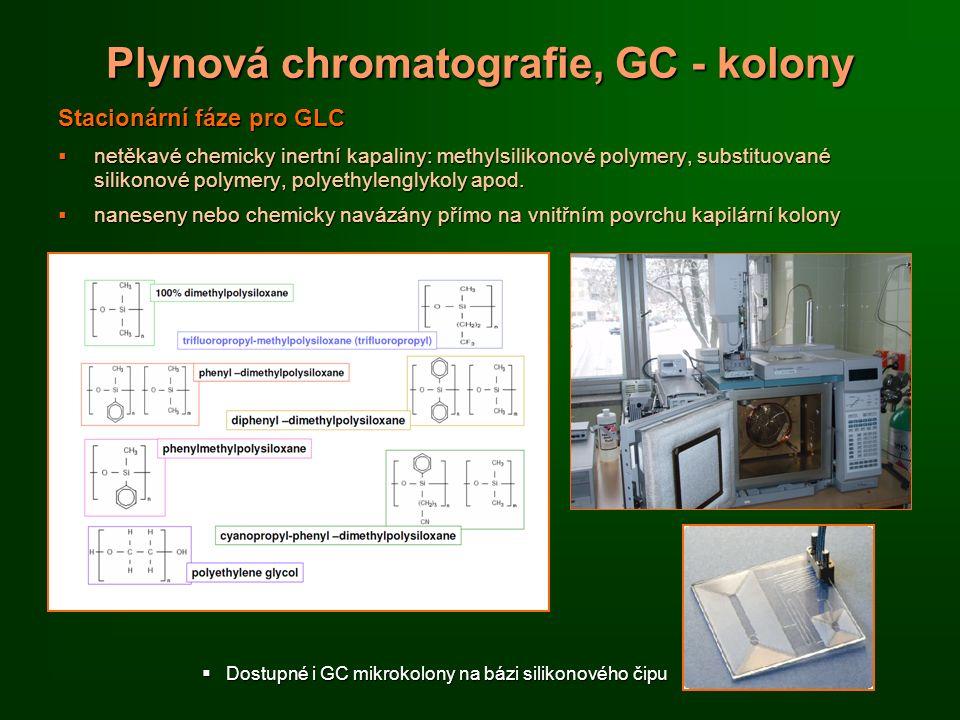 Plynová chromatografie, GC - kolony Stacionární fáze pro GLC  netěkavé chemicky inertní kapaliny: methylsilikonové polymery, substituované silikonové polymery, polyethylenglykoly apod.