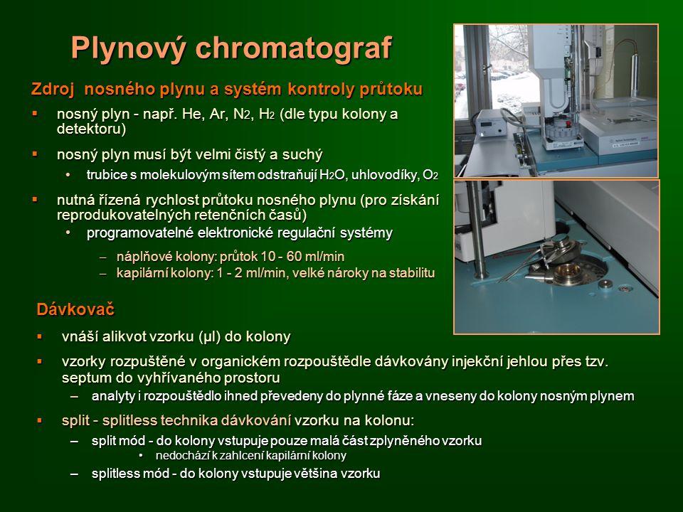 Plynový chromatograf Zdroj nosného plynu a systém kontroly průtoku  nosný plyn - např.