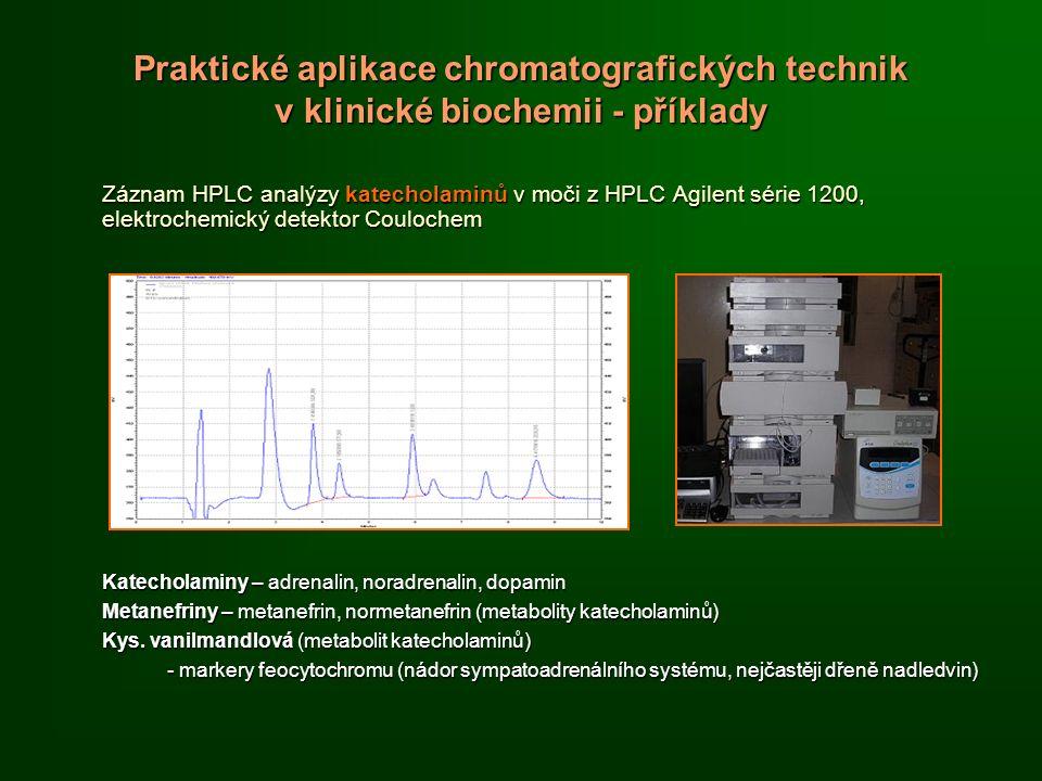 Praktické aplikace chromatografických technik v klinické biochemii - příklady Záznam HPLC analýzy katecholaminů v moči z HPLC Agilent série 1200, elektrochemický detektor Coulochem Katecholaminy – adrenalin, noradrenalin, dopamin Metanefriny – metanefrin, normetanefrin (metabolity katecholaminů) Kys.