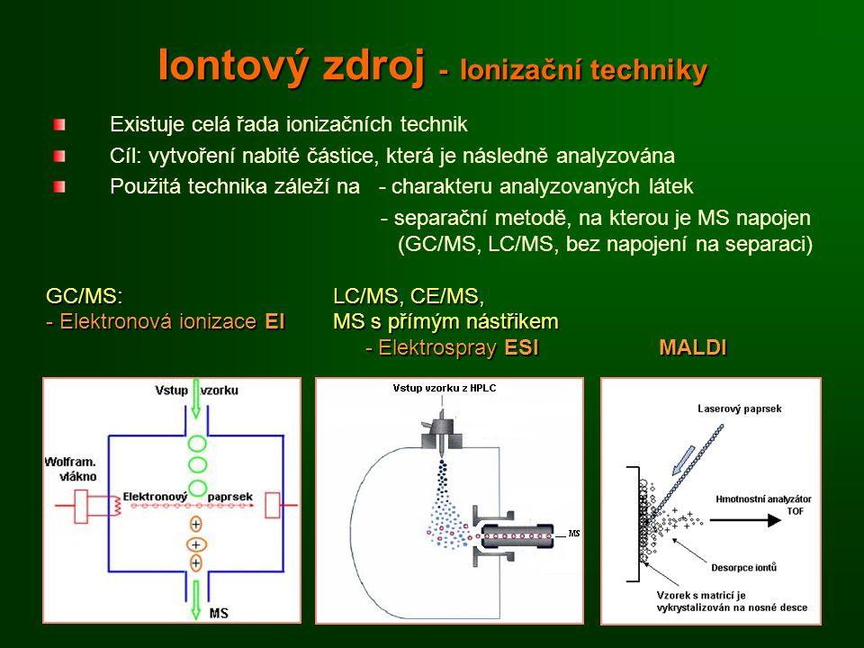 Iontový zdroj - Ionizační techniky Existuje celá řada ionizačních technik Cíl: vytvoření nabité částice, která je následně analyzována Použitá technika záleží na - charakteru analyzovaných látek - separační metodě, na kterou je MS napojen (GC/MS, LC/MS, bez napojení na separaci) GC/MS: LC/MS, CE/MS, - Elektronová ionizace EI MS s přímým nástřikem - Elektrospray ESI MALDI - Elektrospray ESI MALDI