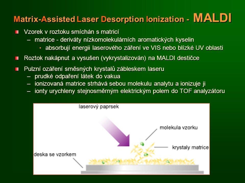 Matrix-Assisted Laser Desorption Ionization - MALDI Vzorek v roztoku smíchán s matricí –matrice - deriváty nízkomolekulárních aromatických kyselin absorbují energii laserového záření ve VIS nebo blízké UV oblasti absorbují energii laserového záření ve VIS nebo blízké UV oblasti Roztok nakápnut a vysušen (vykrystalizován) na MALDI destičce Pulzní ozáření směsných krystalů zábleskem laseru –prudké odpaření látek do vakua –ionizovaná matrice strhává sebou molekulu analytu a ionizuje ji –ionty urychleny stejnosměrným elektrickým polem do TOF analyzátoru