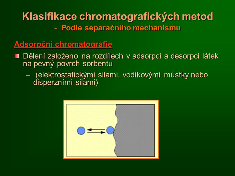 Klasifikace chromatografických metod - Podle separačního mechanismu Adsorpční chromatografie Dělení založeno na rozdílech v adsorpci a desorpci látek na pevný povrch sorbentu – (elektrostatickými silami, vodíkovými můstky nebo disperzními silami)