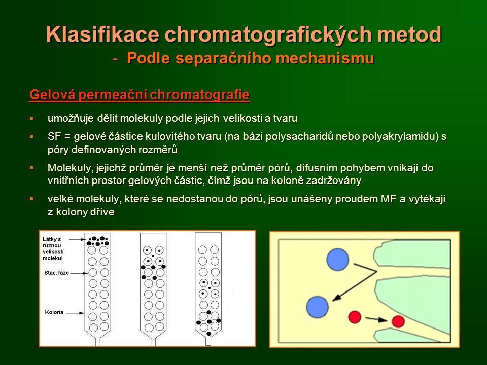 Klasifikace chromatografických metod - Podle separačního mechanismu Gelová permeační chromatografie  umožňuje dělit molekuly podle jejich velikosti a tvaru  SF = gelové částice kulovitého tvaru (na bázi polysacharidů nebo polyakrylamidu) s póry definovaných rozměrů  Molekuly, jejichž průměr je menší než průměr pórů, difusním pohybem vnikají do vnitřních prostor gelových částic, čímž jsou na koloně zadržovány  velké molekuly, které se nedostanou do pórů, jsou unášeny proudem MF a vytékají z kolony dříve