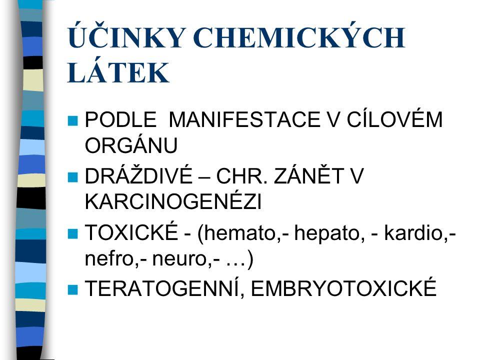 ÚČINKY CHEMICKÝCH LÁTEK PODLE MANIFESTACE V CÍLOVÉM ORGÁNU DRÁŽDIVÉ – CHR.