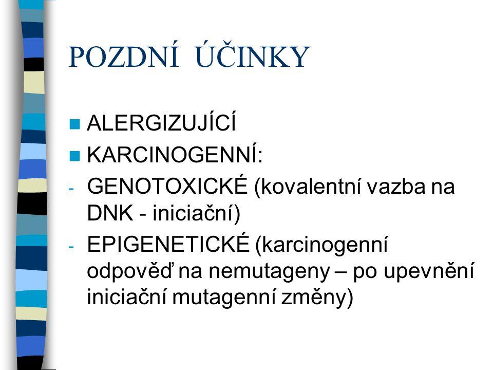 POZDNÍ ÚČINKY ALERGIZUJÍCÍ KARCINOGENNÍ: - GENOTOXICKÉ (kovalentní vazba na DNK - iniciační) - EPIGENETICKÉ (karcinogenní odpověď na nemutageny – po upevnění iniciační mutagenní změny)