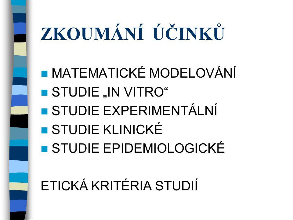 """ZKOUMÁNÍ ÚČINKŮ MATEMATICKÉ MODELOVÁNÍ STUDIE """"IN VITRO STUDIE EXPERIMENTÁLNÍ STUDIE KLINICKÉ STUDIE EPIDEMIOLOGICKÉ ETICKÁ KRITÉRIA STUDIÍ"""