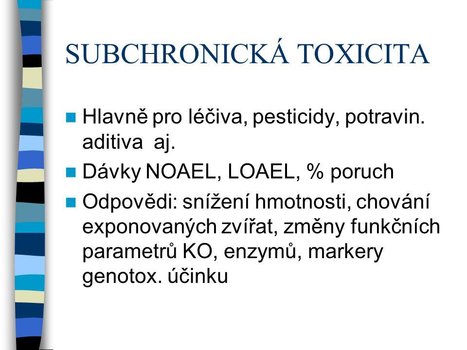 SUBCHRONICKÁ TOXICITA Hlavně pro léčiva, pesticidy, potravin.