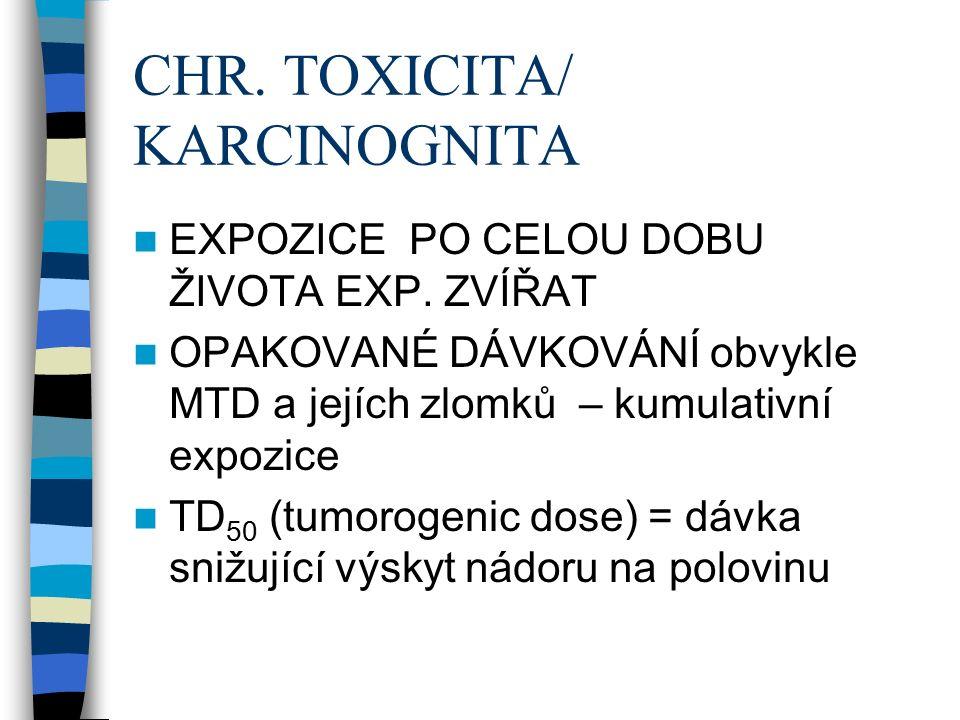 CHR. TOXICITA/ KARCINOGNITA EXPOZICE PO CELOU DOBU ŽIVOTA EXP.