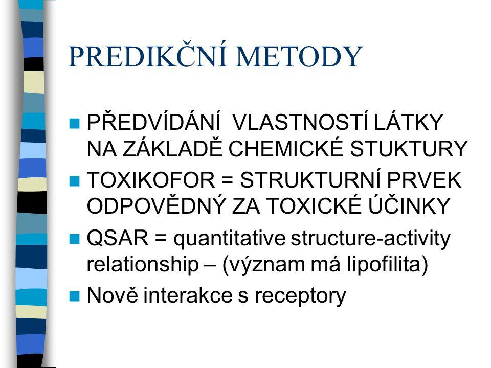 PREDIKČNÍ METODY PŘEDVÍDÁNÍ VLASTNOSTÍ LÁTKY NA ZÁKLADĚ CHEMICKÉ STUKTURY TOXIKOFOR = STRUKTURNÍ PRVEK ODPOVĚDNÝ ZA TOXICKÉ ÚČINKY QSAR = quantitative structure-activity relationship – (význam má lipofilita) Nově interakce s receptory