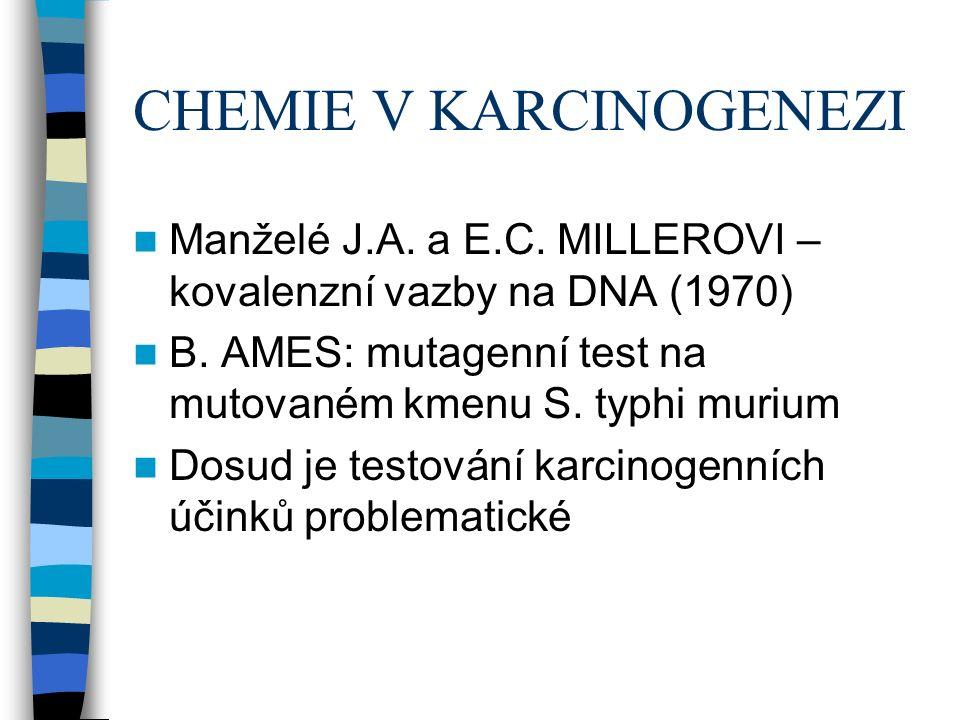 CHEMIE V KARCINOGENEZI Manželé J.A. a E.C. MILLEROVI – kovalenzní vazby na DNA (1970) B.