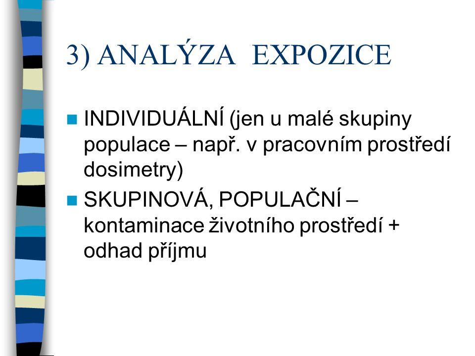 3) ANALÝZA EXPOZICE INDIVIDUÁLNÍ (jen u malé skupiny populace – např.