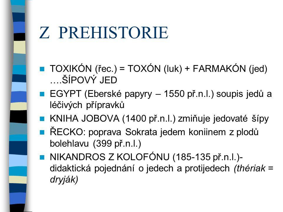 Z PREHISTORIE TOXIKÓN (řec.) = TOXÓN (luk) + FARMAKÓN (jed) ….ŠÍPOVÝ JED EGYPT (Eberské papyry – 1550 př.n.l.) soupis jedů a léčivých přípravků KNIHA JOBOVA (1400 př.n.l.) zmiňuje jedovaté šípy ŘECKO: poprava Sokrata jedem koniinem z plodů bolehlavu (399 př.n.l.) NIKANDROS Z KOLOFÓNU (185-135 př.n.l.)- didaktická pojednání o jedech a protijedech (thériak = dryják)