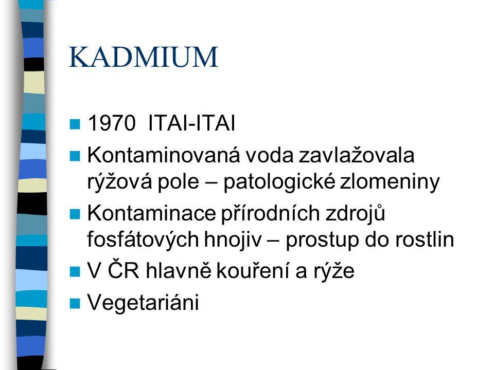 KADMIUM 1970 ITAI-ITAI Kontaminovaná voda zavlažovala rýžová pole – patologické zlomeniny Kontaminace přírodních zdrojů fosfátových hnojiv – prostup do rostlin V ČR hlavně kouření a rýže Vegetariáni