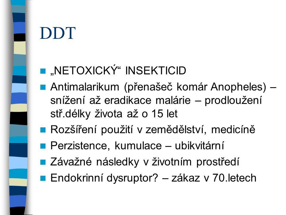 """DDT """"NETOXICKÝ INSEKTICID Antimalarikum (přenašeč komár Anopheles) – snížení až eradikace malárie – prodloužení stř.délky života až o 15 let Rozšíření použití v zemědělství, medicíně Perzistence, kumulace – ubikvitární Závažné následky v životním prostředí Endokrinní dysruptor."""