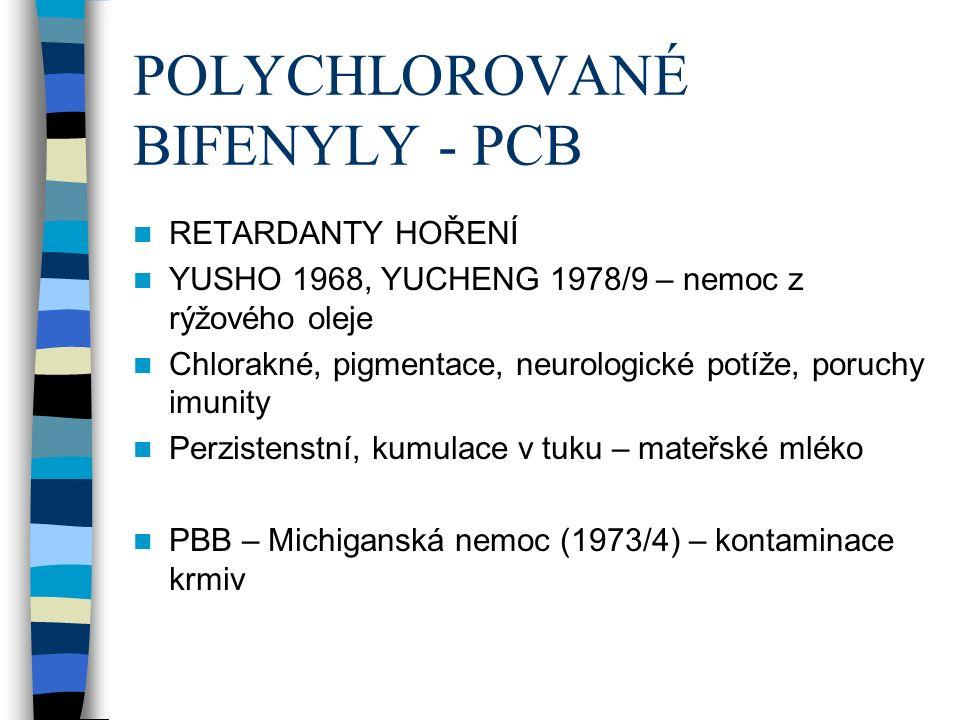 POLYCHLOROVANÉ BIFENYLY - PCB RETARDANTY HOŘENÍ YUSHO 1968, YUCHENG 1978/9 – nemoc z rýžového oleje Chlorakné, pigmentace, neurologické potíže, poruchy imunity Perzistenstní, kumulace v tuku – mateřské mléko PBB – Michiganská nemoc (1973/4) – kontaminace krmiv