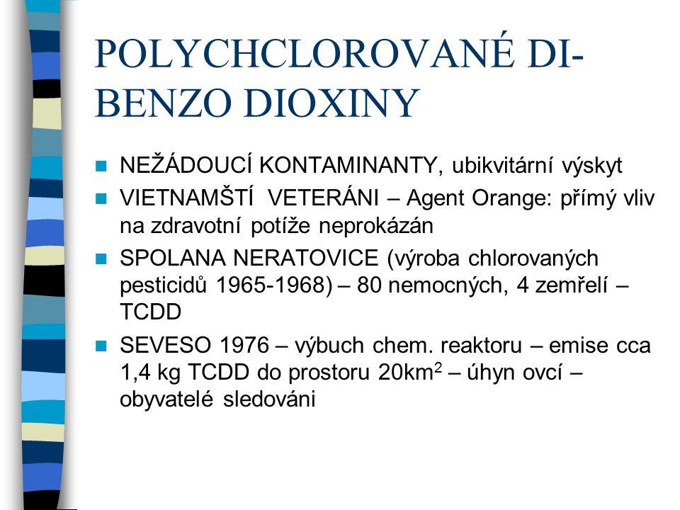 POLYCHCLOROVANÉ DI- BENZO DIOXINY NEŽÁDOUCÍ KONTAMINANTY, ubikvitární výskyt VIETNAMŠTÍ VETERÁNI – Agent Orange: přímý vliv na zdravotní potíže neprokázán SPOLANA NERATOVICE (výroba chlorovaných pesticidů 1965-1968) – 80 nemocných, 4 zemřelí – TCDD SEVESO 1976 – výbuch chem.