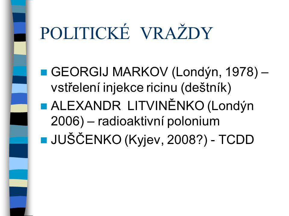POLITICKÉ VRAŽDY GEORGIJ MARKOV (Londýn, 1978) – vstřelení injekce ricinu (deštník) ALEXANDR LITVINĚNKO (Londýn 2006) – radioaktivní polonium JUŠČENKO (Kyjev, 2008?) - TCDD