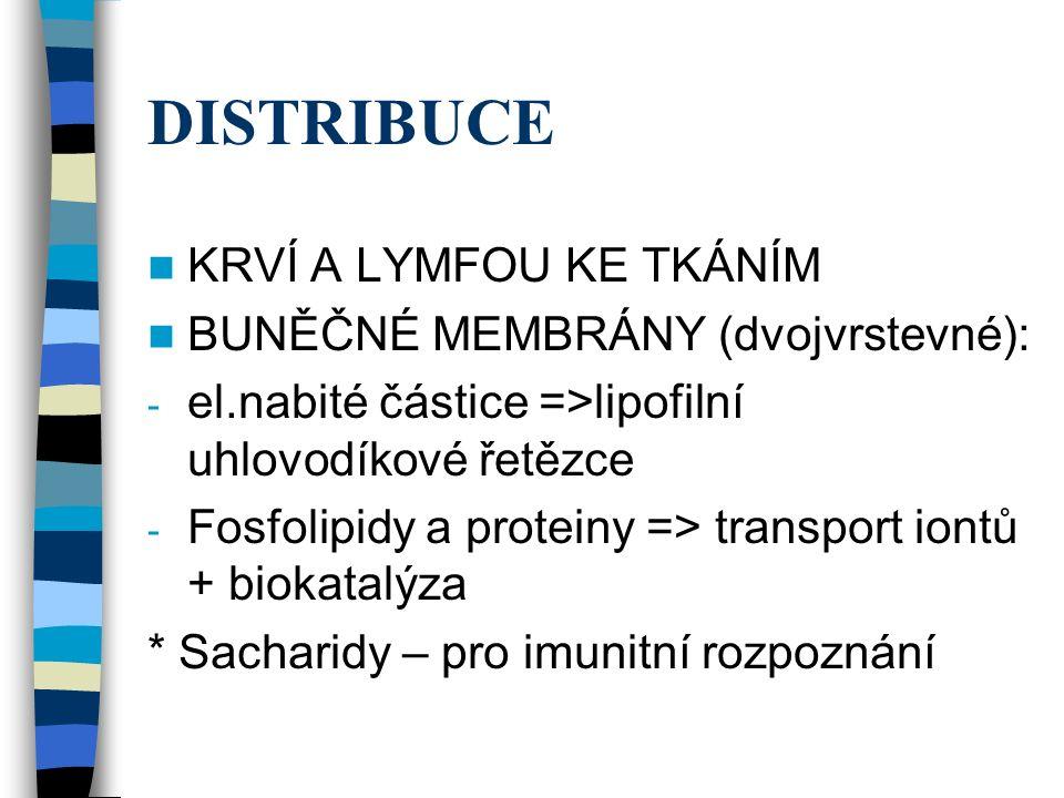 DISTRIBUCE KRVÍ A LYMFOU KE TKÁNÍM BUNĚČNÉ MEMBRÁNY (dvojvrstevné): - el.nabité částice =>lipofilní uhlovodíkové řetězce - Fosfolipidy a proteiny => transport iontů + biokatalýza * Sacharidy – pro imunitní rozpoznání