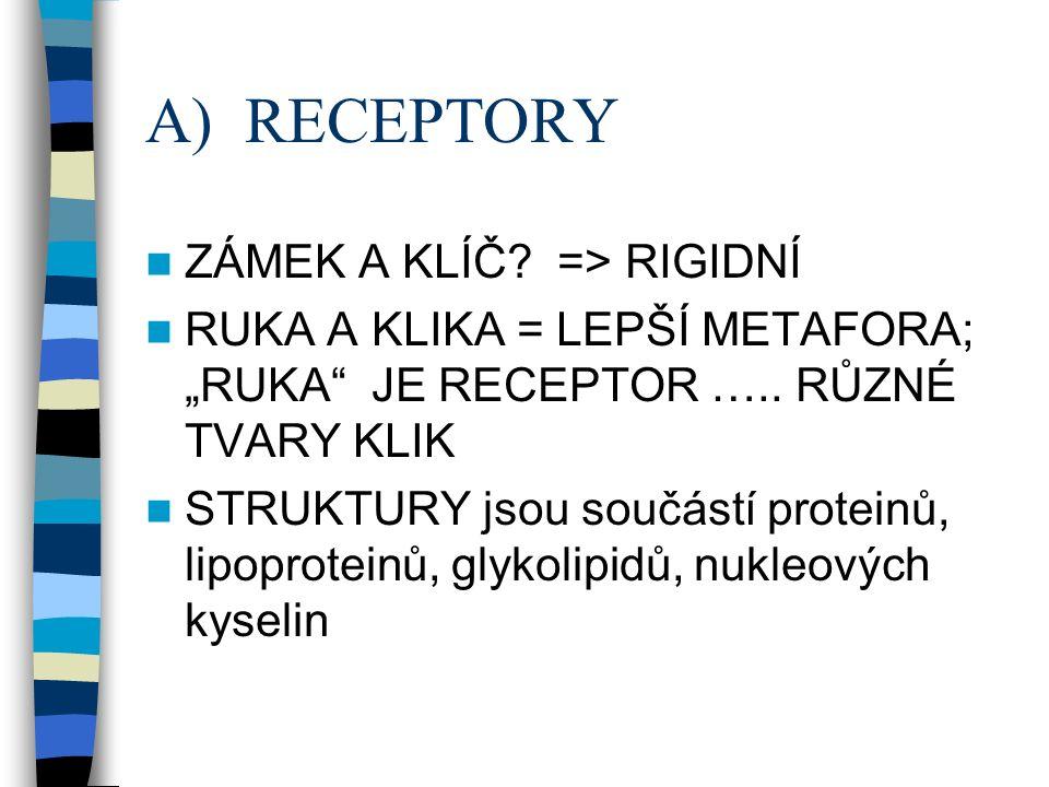 "A) RECEPTORY ZÁMEK A KLÍČ. => RIGIDNÍ RUKA A KLIKA = LEPŠÍ METAFORA; ""RUKA JE RECEPTOR ….."