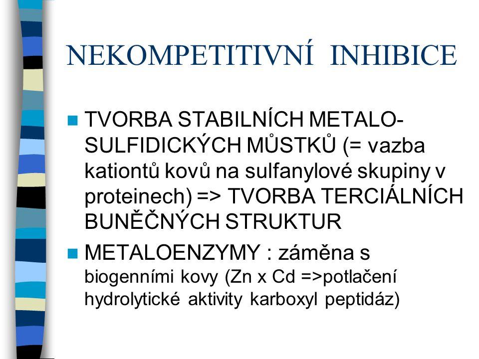 NEKOMPETITIVNÍ INHIBICE TVORBA STABILNÍCH METALO- SULFIDICKÝCH MŮSTKŮ (= vazba kationtů kovů na sulfanylové skupiny v proteinech) => TVORBA TERCIÁLNÍCH BUNĚČNÝCH STRUKTUR METALOENZYMY : záměna s biogenními kovy (Zn x Cd =>potlačení hydrolytické aktivity karboxyl peptidáz)