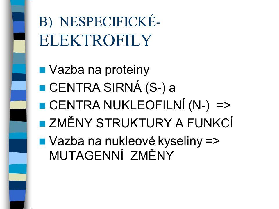 B) NESPECIFICKÉ- ELEKTROFILY Vazba na proteiny CENTRA SIRNÁ (S-) a CENTRA NUKLEOFILNÍ (N-) => ZMĚNY STRUKTURY A FUNKCÍ Vazba na nukleové kyseliny => MUTAGENNÍ ZMĚNY
