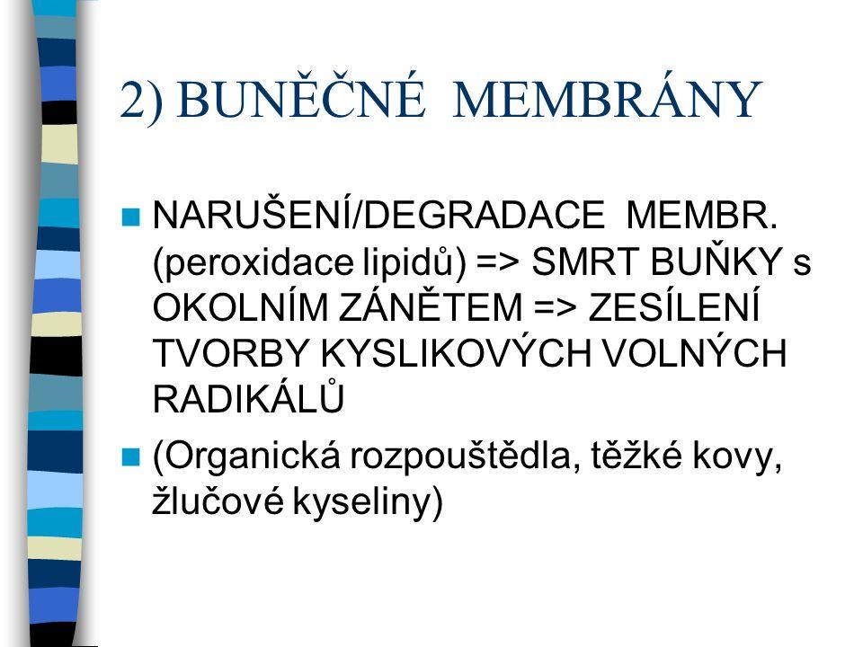 2) BUNĚČNÉ MEMBRÁNY NARUŠENÍ/DEGRADACE MEMBR.