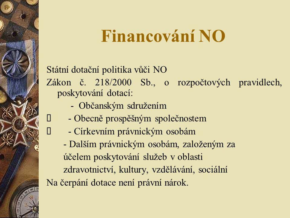Financování NO Státní dotační politika vůči NO Zákon č.