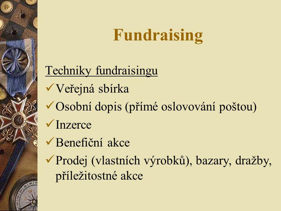 Fundraising Techniky fundraisingu Veřejná sbírka Osobní dopis (přímé oslovování poštou) Inzerce Benefiční akce Prodej (vlastních výrobků), bazary, dražby, příležitostné akce