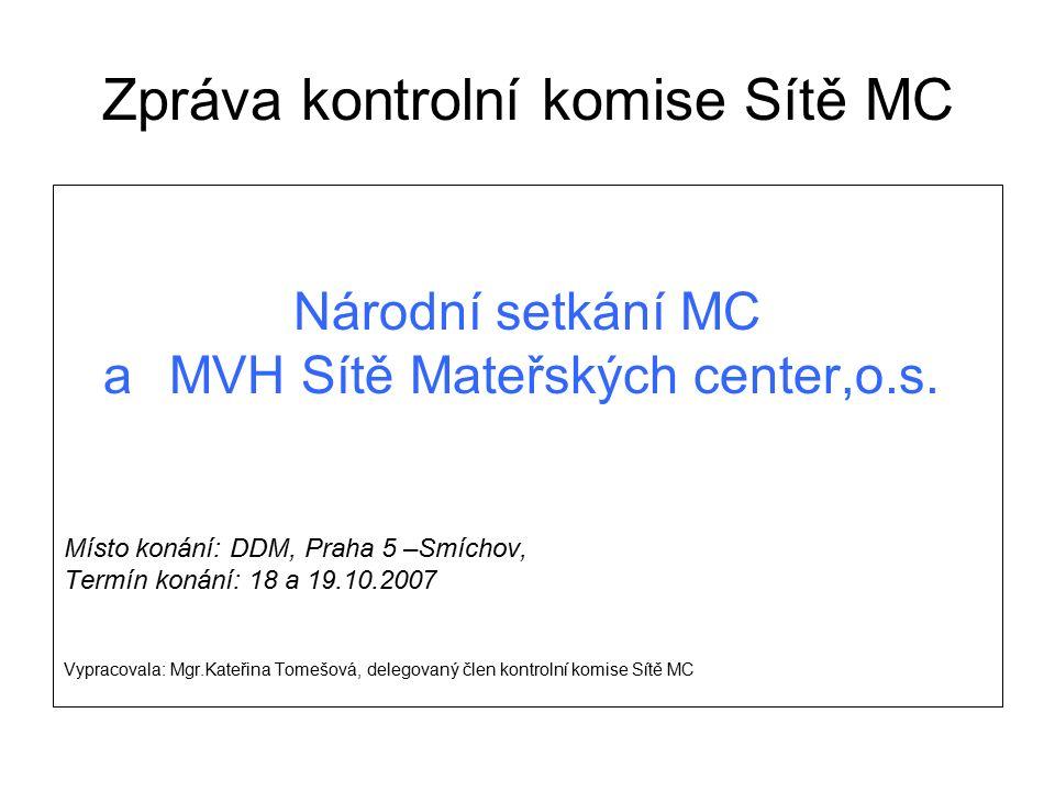 Zpráva kontrolní komise Sítě MC Národní setkání MC aMVH Sítě Mateřských center,o.s. Místo konání: DDM, Praha 5 –Smíchov, Termín konání: 18 a 19.10.200