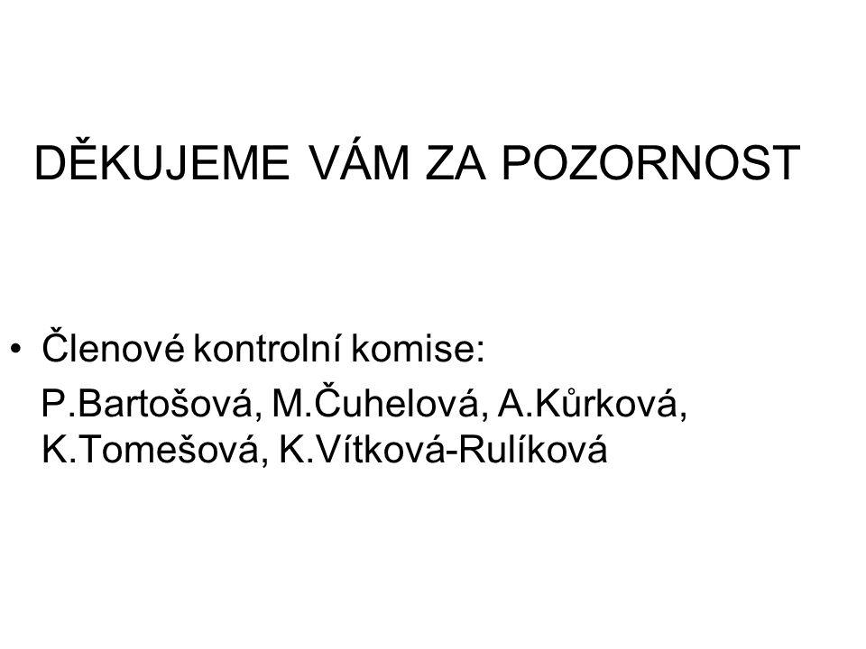 DĚKUJEME VÁM ZA POZORNOST Členové kontrolní komise: P.Bartošová, M.Čuhelová, A.Kůrková, K.Tomešová, K.Vítková-Rulíková