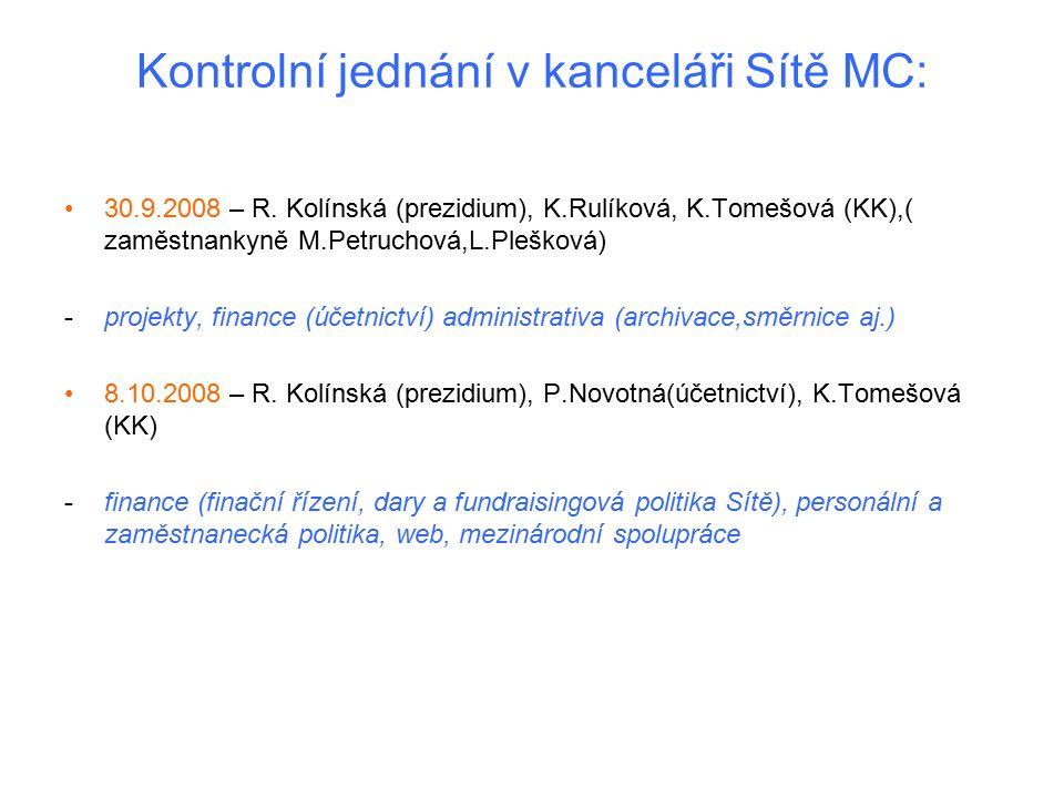 Kontrolní jednání v kanceláři Sítě MC: 30.9.2008 – R. Kolínská (prezidium), K.Rulíková, K.Tomešová (KK),( zaměstnankyně M.Petruchová,L.Plešková) -proj