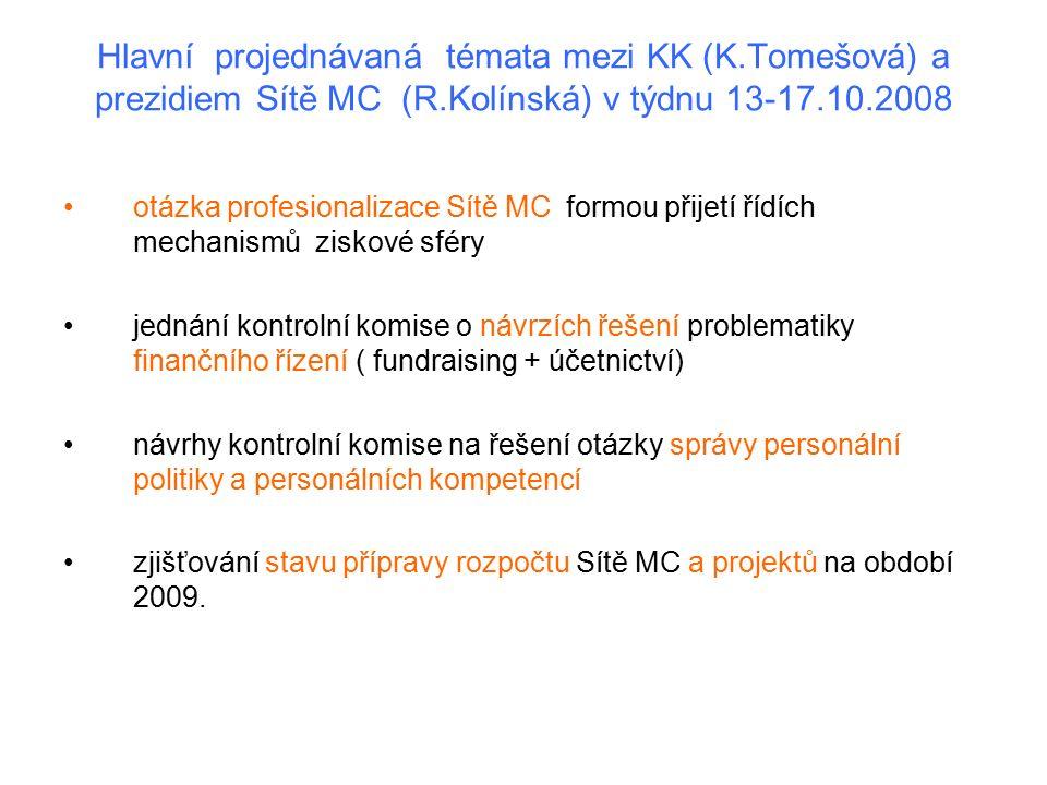 Hlavní projednávaná témata mezi KK (K.Tomešová) a prezidiem Sítě MC (R.Kolínská) v týdnu 13-17.10.2008 otázka profesionalizace Sítě MC formou přijetí řídích mechanismů ziskové sféry jednání kontrolní komise o návrzích řešení problematiky finančního řízení ( fundraising + účetnictví) návrhy kontrolní komise na řešení otázky správy personální politiky a personálních kompetencí zjišťování stavu přípravy rozpočtu Sítě MC a projektů na období 2009.