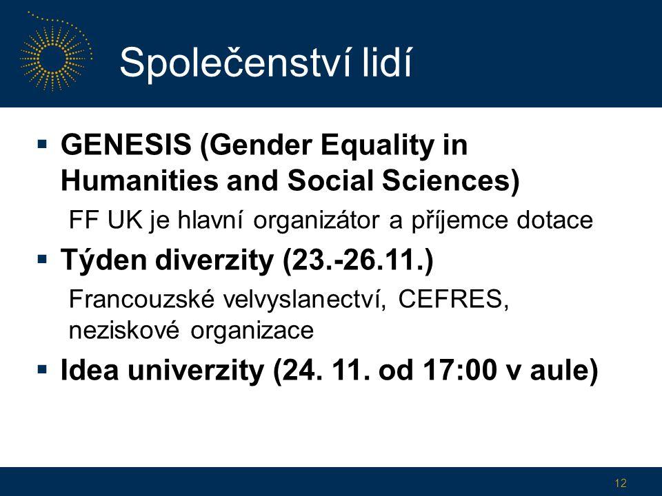  GENESIS (Gender Equality in Humanities and Social Sciences) FF UK je hlavní organizátor a příjemce dotace  Týden diverzity (23.-26.11.) Francouzské velvyslanectví, CEFRES, neziskové organizace  Idea univerzity (24.