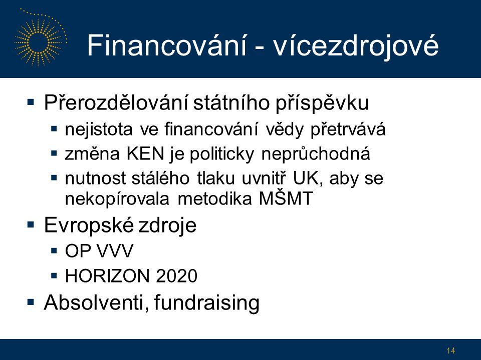 Financování - vícezdrojové  Přerozdělování státního příspěvku  nejistota ve financování vědy přetrvává  změna KEN je politicky neprůchodná  nutnost stálého tlaku uvnitř UK, aby se nekopírovala metodika MŠMT  Evropské zdroje  OP VVV  HORIZON 2020  Absolventi, fundraising 14