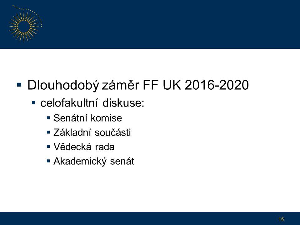  Dlouhodobý záměr FF UK 2016-2020  celofakultní diskuse:  Senátní komise  Základní součásti  Vědecká rada  Akademický senát 16