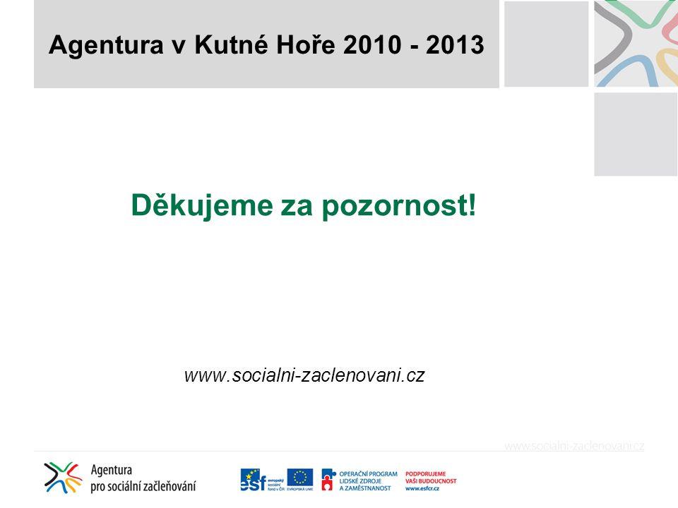 Děkujeme za pozornost! www.socialni-zaclenovani.cz Agentura v Kutné Hoře 2010 - 2013