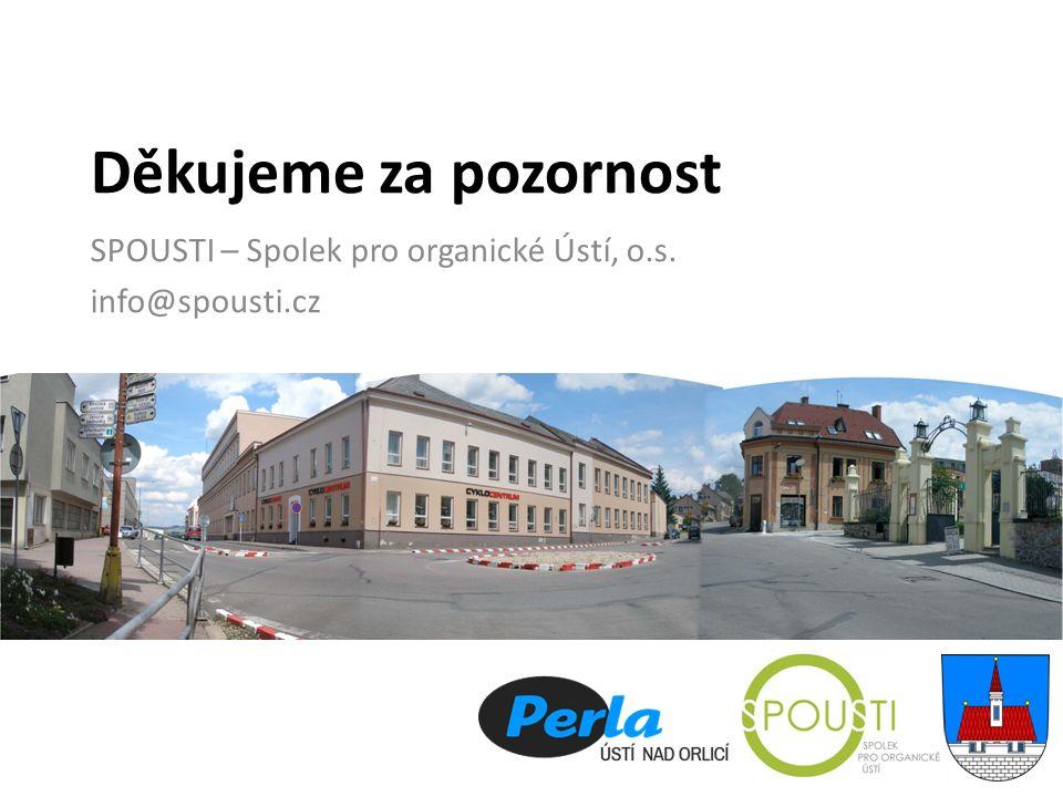Děkujeme za pozornost SPOUSTI – Spolek pro organické Ústí, o.s. info@spousti.cz