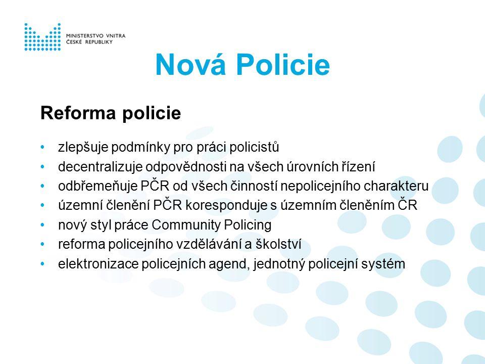 Nová Policie Reforma policie zlepšuje podmínky pro práci policistů decentralizuje odpovědnosti na všech úrovních řízení odbřemeňuje PČR od všech činno