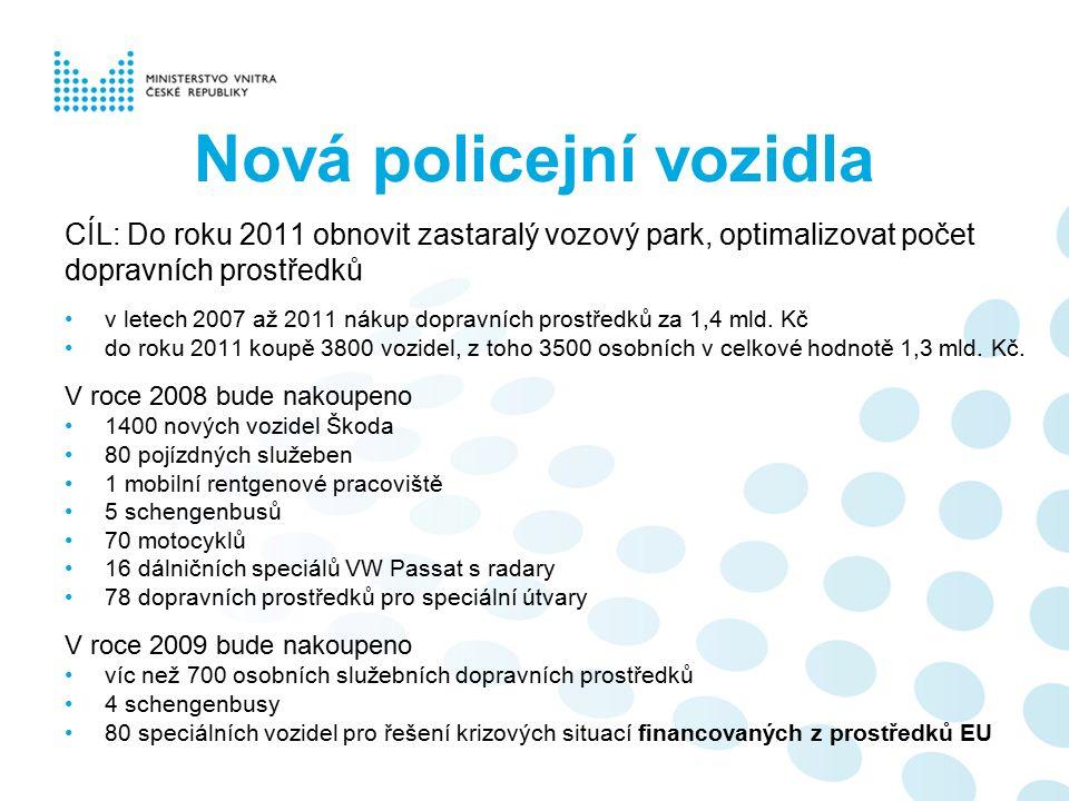 Nová policejní vozidla CÍL: Do roku 2011 obnovit zastaralý vozový park, optimalizovat počet dopravních prostředků v letech 2007 až 2011 nákup dopravních prostředků za 1,4 mld.