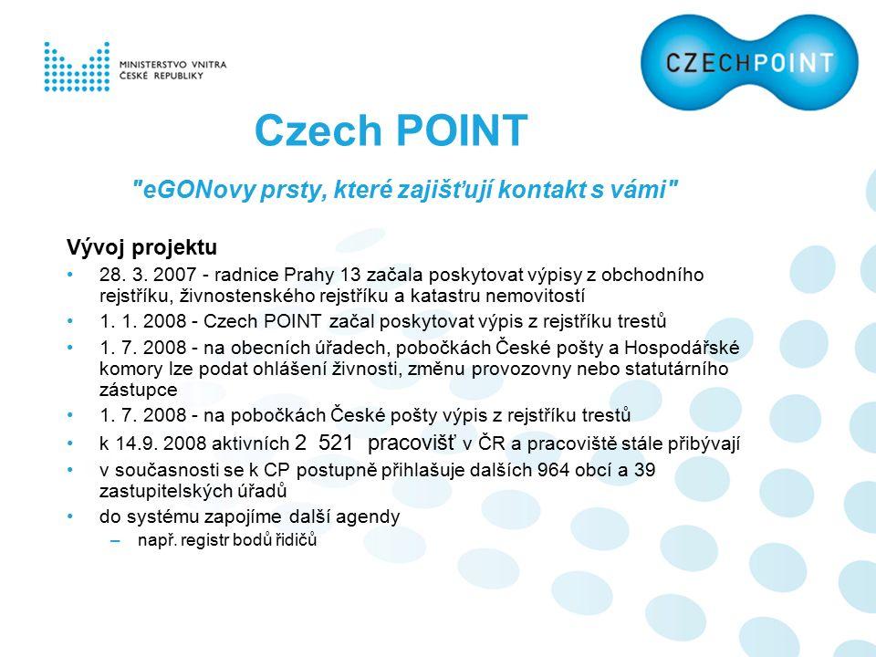 eGONovy prsty, které zajišťují kontakt s vámi Vývoj projektu 28.