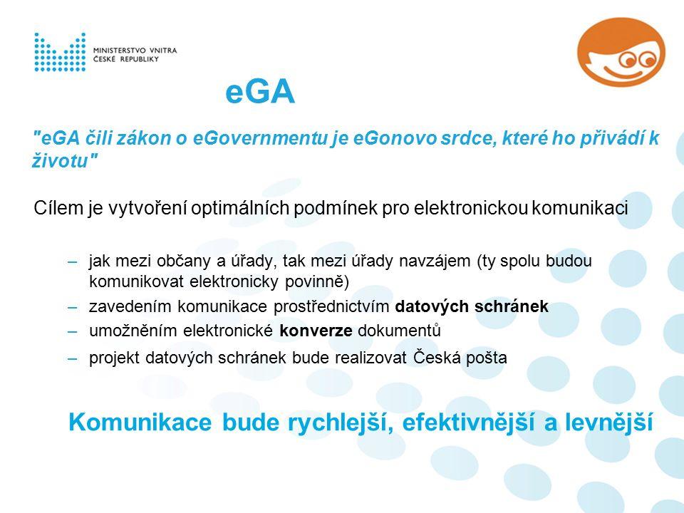 eGA čili zákon o eGovernmentu je eGonovo srdce, které ho přivádí k životu Cílem je vytvoření optimálních podmínek pro elektronickou komunikaci –jak mezi občany a úřady, tak mezi úřady navzájem (ty spolu budou komunikovat elektronicky povinně) –zavedením komunikace prostřednictvím datových schránek –umožněním elektronické konverze dokumentů –projekt datových schránek bude realizovat Česká pošta Komunikace bude rychlejší, efektivnější a levnější eGA