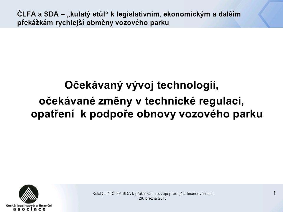 """11 ČLFA a SDA – """"kulatý stůl k legislativním, ekonomickým a dalším překážkám rychlejší obměny vozového parku Očekávaný vývoj technologií, očekávané změny v technické regulaci, opatření k podpoře obnovy vozového parku Kulatý stůl ČLFA-SDA k překážkám rozvoje prodejů a financování aut 28."""