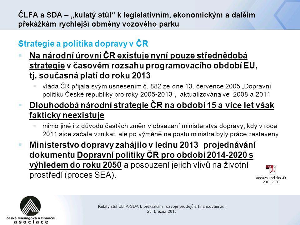 Strategie a politika dopravy v ČR  Na národní úrovni ČR existuje nyní pouze střednědobá strategie v časovém rozsahu programovacího období EU, tj.