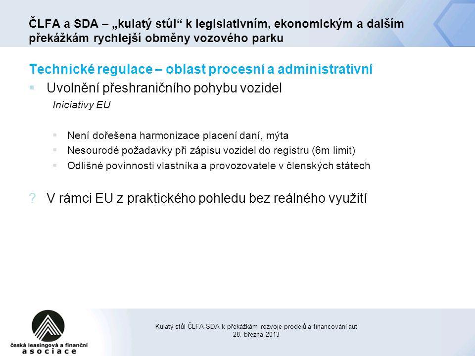Technické regulace – oblast procesní a administrativní  Uvolnění přeshraničního pohybu vozidel Iniciativy EU  Není dořešena harmonizace placení daní, mýta  Nesourodé požadavky při zápisu vozidel do registru (6m limit)  Odlišné povinnosti vlastníka a provozovatele v členských státech ?V rámci EU z praktického pohledu bez reálného využití Kulatý stůl ČLFA-SDA k překážkám rozvoje prodejů a financování aut 28.