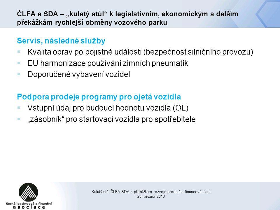 """Servis, následné služby  Kvalita oprav po pojistné události (bezpečnost silničního provozu)  EU harmonizace používání zimních pneumatik  Doporučené vybavení vozidel Podpora prodeje programy pro ojetá vozidla  Vstupní údaj pro budoucí hodnotu vozidla (OL)  """"zásobník pro startovací vozidla pro spotřebitele Kulatý stůl ČLFA-SDA k překážkám rozvoje prodejů a financování aut 28."""