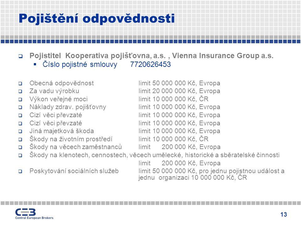 13 Pojištění odpovědnosti  Pojistitel Kooperativa pojišťovna, a.s., Vienna Insurance Group a.s.